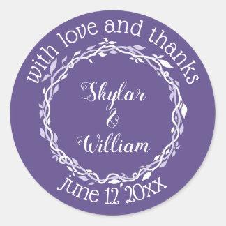 Adesivo Redondo Amor simples e obrigados do casamento ultravioleta