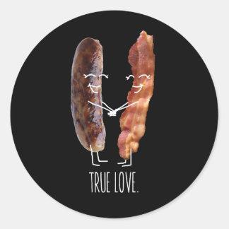 Adesivo Redondo Amor verdadeiro.  Bacon e salsicha