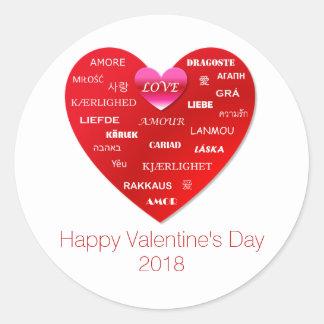 Adesivo Redondo Amor vermelho do feliz dia dos namorados em muitas