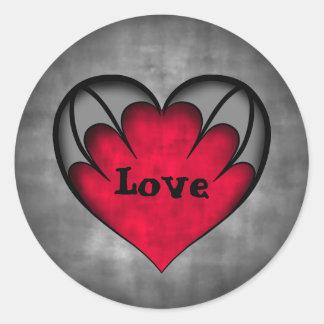 Adesivo Redondo Amor vermelho gótico do dia dos namorados do