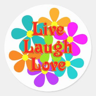 Adesivo Redondo Amor vivo do riso do divertimento