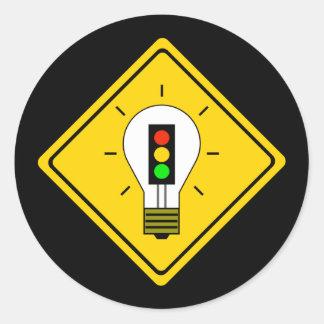 Adesivo Redondo Ampola do sinal de trânsito adiante
