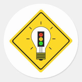 Adesivo Redondo Ampola temperamental do sinal de trânsito adiante