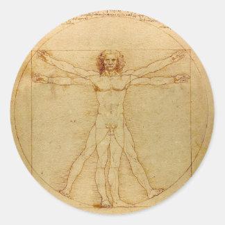 Adesivo Redondo Anatomia humana, homem de Vitruvian por Leonardo