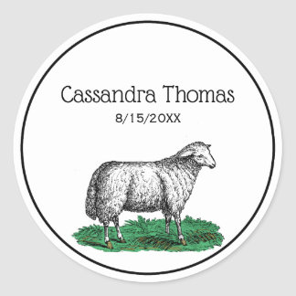 Adesivo Redondo Animais de fazenda da ovelha dos carneiros do