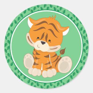 Adesivo Redondo Animais do safari do bebê do tigre |