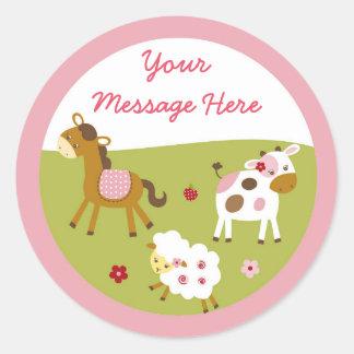 Adesivo Redondo Animal de fazenda cor-de-rosa bonito