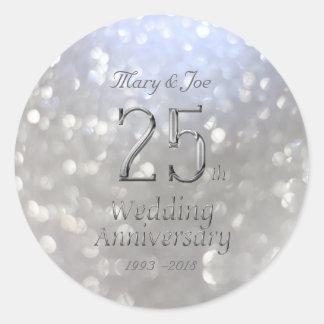 Adesivo Redondo Aniversário Bokeh do aniversário de casamento de