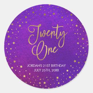 Adesivo Redondo Aniversário de 21 anos roxo estrelado elegante da