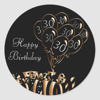 Adesivo Redondo Aniversário de 30 anos feliz