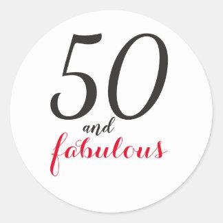 Adesivo Redondo aniversário de 50 anfFabulous|Typography 50th