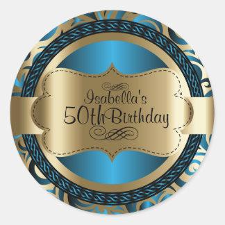 Adesivo Redondo Aniversário do azul e do abstrato do redemoinho do