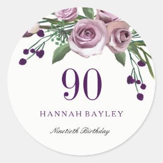 Adesivo Redondo Aniversário floral do 90 do rosa romântico do roxo