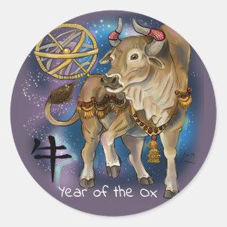 Adesivo Redondo Ano chinês do zodíaco do boi