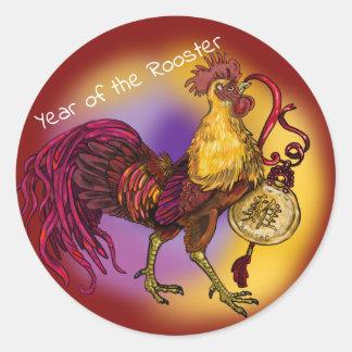 Adesivo Redondo Ano chinês do zodíaco do galo