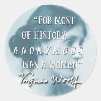 Adesivo Redondo Anónimo era um azul das citações de Virgínia Woolf