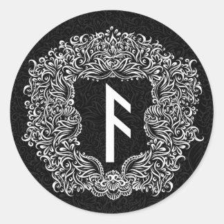 Adesivo Redondo Ansuz-rune/prosperidade, vitalidade