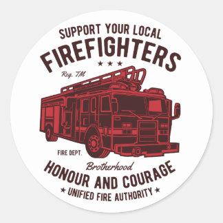 Adesivo Redondo Apoie seus bombeiros locais
