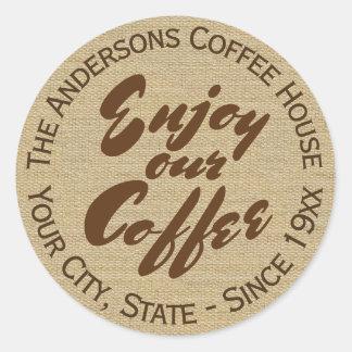"""Adesivo Redondo """"Aprecie nosso café"""" Home ou nome da empresa"""