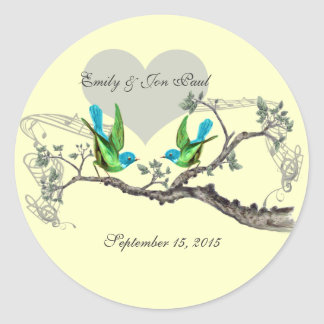 Adesivo Redondo Aqua & pássaros verde-maçã do vintage que Wedding