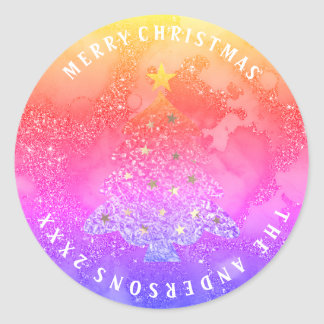 Adesivo Redondo Arco-íris azul Ombre do brilho da árvore do Feliz