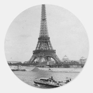 Adesivo Redondo aris, France: vista da torre Eiffel e do Seine