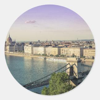 Adesivo Redondo Arquitectura da cidade de Budapest