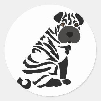 Adesivo Redondo Arte abstracta preta engraçada do cão de Shar Pei