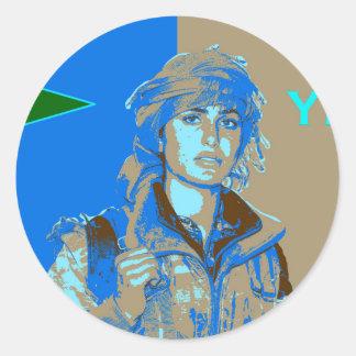 Adesivo Redondo Arte curdo 3 do lutador de YPJ