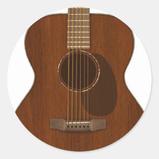 Adesivo Redondo Arte da guitarra acústica