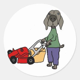 Adesivo Redondo Arte de sega do gramado do cão engraçado de