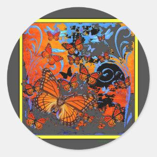 Adesivo Redondo Arte do clima de tempestade das borboletas de