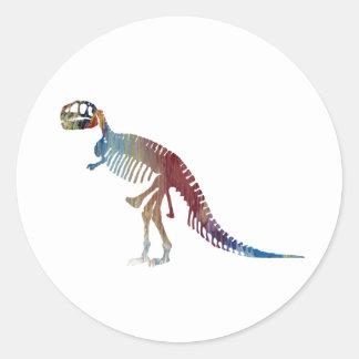 Adesivo Redondo Arte do esqueleto do rex do tiranossauro