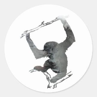 Adesivo Redondo Arte do Gibbon