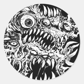 Adesivo Redondo Arte do horror do monstro