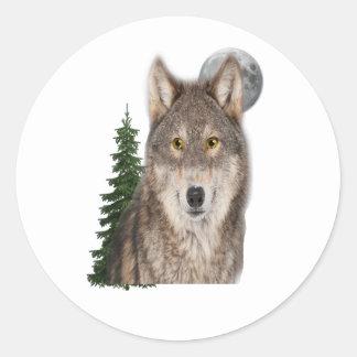 Adesivo Redondo arte do lobo