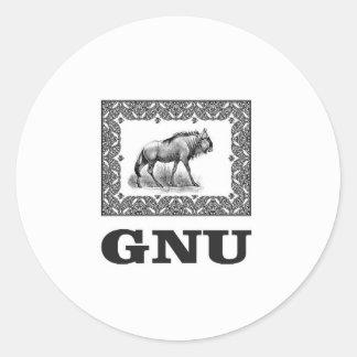 Adesivo Redondo Arte do poder do Gnu