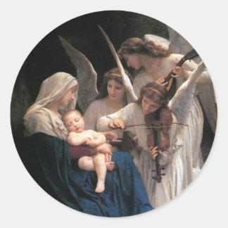 Adesivo Redondo Arte do Victorian do vintage, canção dos anjos,