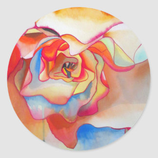Adesivo Redondo Arte do watercolour da begónia de Fred Martin