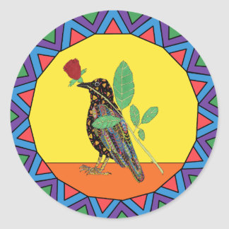 Adesivo Redondo Arte popular do mexicano do corvo & da rosa