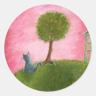 Adesivo Redondo Arte popular lunática do gato do gatinho que pinta