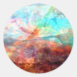 Adesivo Redondo Arte subaquática de inspiração bonita da cena