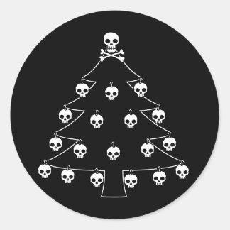 Adesivo Redondo Árvore de Natal do crânio