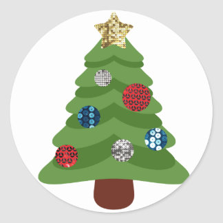 Adesivo Redondo árvore de Natal do emoji