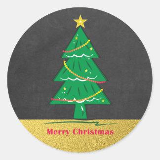 Adesivo Redondo Árvore do Feliz Natal do brilho do ouro do quadro