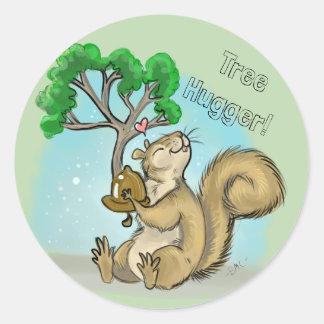 Adesivo Redondo Árvore Hugger! Esquilo