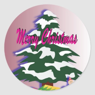 Adesivo Redondo Árvore retro do Feliz Natal