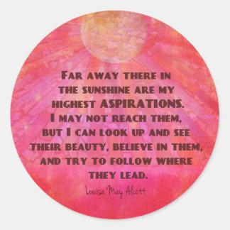 Adesivo Redondo As citações as mais altas Louisa das aspirações