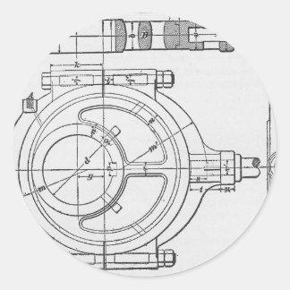Adesivo Redondo As engrenagens do mecânico industrial gráficas