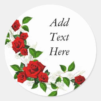 Adesivo Redondo As flores brancas das rosas vermelhas personalizam